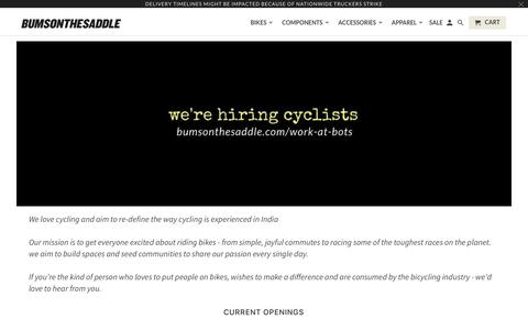 Screenshot of Jobs Page bumsonthesaddle.com - Careers in Cycling at BUMSONTHESADDLE - captured Aug. 4, 2018