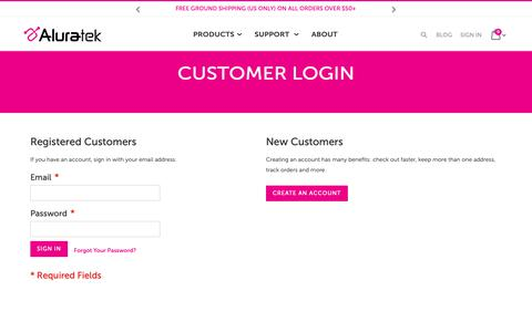 Screenshot of Login Page aluratek.com - Customer Login - captured Nov. 8, 2018