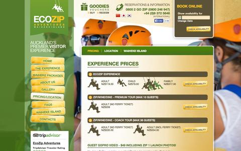 Screenshot of Pricing Page ecozipadventures.co.nz - Experience Prices - EcoZip Adventures - captured Oct. 1, 2014