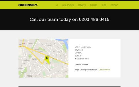 Screenshot of Contact Page weare.gs - Contact Us | Digital Marketing Agency London | Greensky - captured Oct. 3, 2014