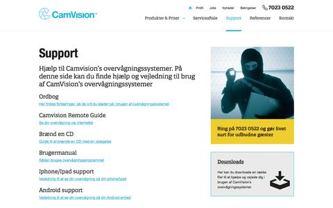 Screenshot of Support Page camvision.dk - Support - Camvision - captured Oct. 18, 2016