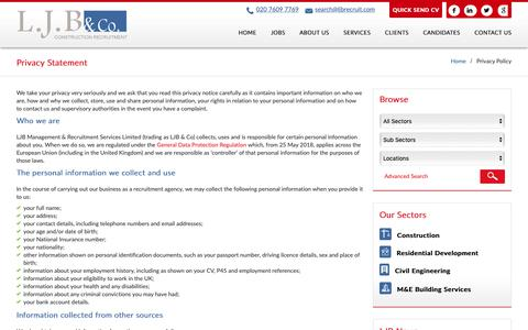 Screenshot of Privacy Page ljbrecruit.com - Privacy Policy | LJB Recruit - captured Sept. 25, 2018
