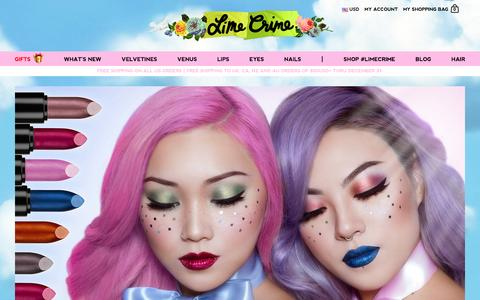 Screenshot of Home Page limecrime.com - Lime Crime - Makeup for Unicorns. Created by Doe Deere. - captured Dec. 10, 2015