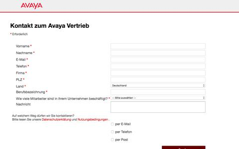 Screenshot of Landing Page avaya.com - Kontaktieren Sie das Avaya-Vertriebsteam - Avaya DE - captured Aug. 11, 2018