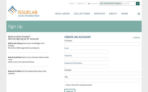 Screenshot of Signup Page issuelab.org - IssueLab: Register - captured Sept. 24, 2018