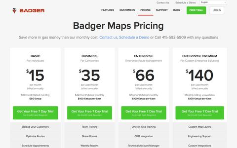 Badger Maps Pricing - Plans starting from just $15 a month