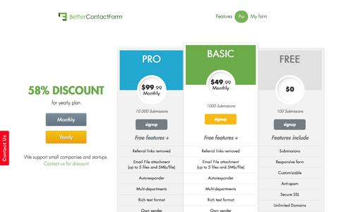 Screenshot of Pricing Page bettercontactform.com - The Professional Contact Form - captured Nov. 4, 2014