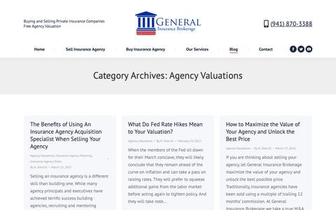 Screenshot of Blog generalinsurancebrokerage.com - Agency Valuations | General Insurance Brokerage - captured Sept. 27, 2018