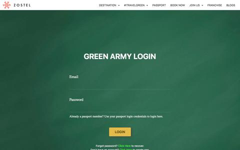 Screenshot of Login Page zostel.com - Zostel | GREENARMY - captured Aug. 9, 2018
