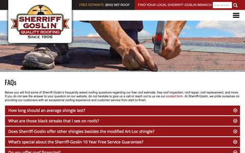 Screenshot of FAQ Page sherriffgoslin.com - Sherriff-Goslin l FAQs - captured Oct. 20, 2018