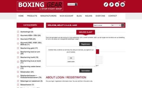 Screenshot of Login Page boxinggear.nl - Inloggen-dé online bokswinkel van Nederland - captured July 30, 2016