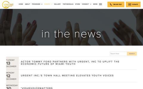 Screenshot of Press Page urgentinc.org - In the News - Urgent, Inc. - captured Nov. 14, 2017