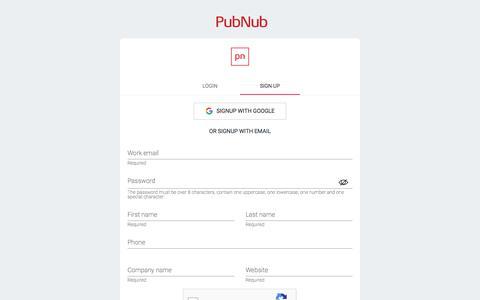 Screenshot of Signup Page pubnub.com - PubNub Dashboard - captured Jan. 24, 2020