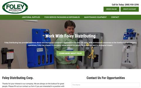 Screenshot of Jobs Page foleydistributing.com - Careers | Foley Distributing - captured Nov. 14, 2018