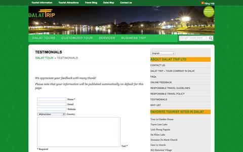 Screenshot of Testimonials Page dalattrip.com - TESTIMONIALS - captured Oct. 5, 2014