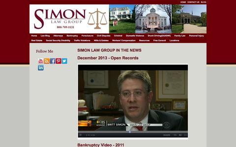 Screenshot of Press Page simonattorneys.com - News - captured Oct. 2, 2014