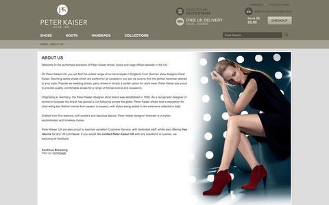 Screenshot of About Page peterkaiser.co.uk - About Us | Peter Kaiser UK | Ladies Designer Shoes Boots & Handbags - captured June 27, 2017
