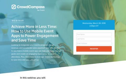 Screenshot of Landing Page cvent.com - Webinar | CrowdCompass - captured Sept. 19, 2018