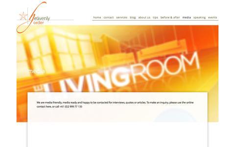 Screenshot of Press Page horder.com.au - Media — Heavenly Order - captured Jan. 28, 2016