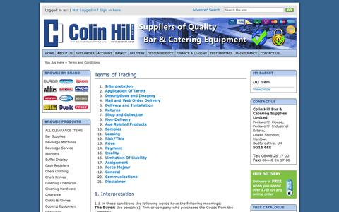Screenshot of Terms Page colinhill.co.uk - Colin Hill   Terms of Trading - captured Oct. 8, 2014