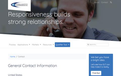 Screenshot of Contact Page glthome.com - Global Lighting Technologies - Contact - captured Sept. 25, 2018