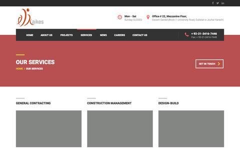 Screenshot of Services Page aikes.com.pk - Our Services – Aikes Pvt. Ltd. - captured Nov. 19, 2016