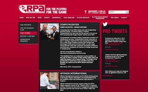 Screenshot of Case Studies Page therpa.co.uk - The RPA : The Rugby Players' Association » Case Studies - captured Oct. 6, 2014