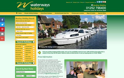 Screenshot of Press Page waterwaysholidays.com - Press Information, Free To Use Images & Latest Press Releases - captured Oct. 18, 2018