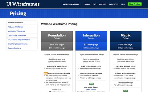 Screenshot of Pricing Page uiwireframes.com - Pricing | Wireframe Design Services | UI Wireframes - captured Sept. 30, 2014