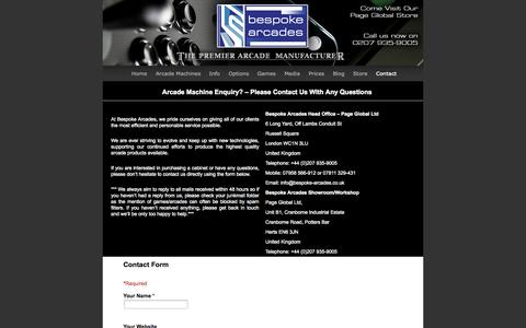 Screenshot of Contact Page bespoke-arcades.co.uk - Arcade Machines custom-built for you! | Bespoke Arcades - captured Sept. 30, 2014