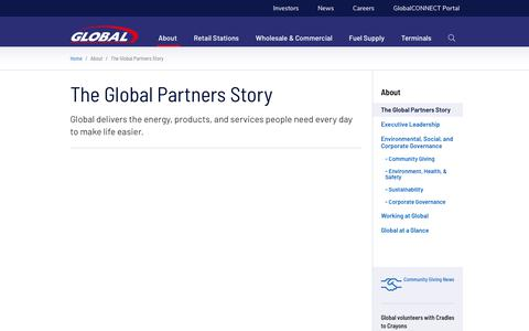 Screenshot of About Page globalp.com - The Global Partners Story - Global Partners LP - captured Jan. 12, 2020