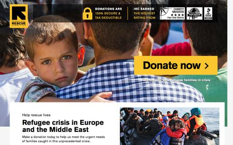 Screenshot of Landing Page rescue.org - Refugee crisis in Europe and the Middle East | International Rescue Committee - captured Nov. 27, 2016