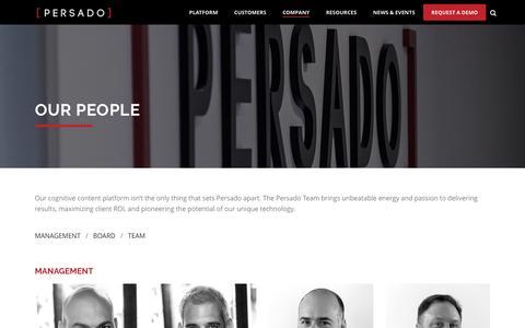Screenshot of Team Page persado.com - Our People | Persado - Cognitive Content Platform - captured April 4, 2016