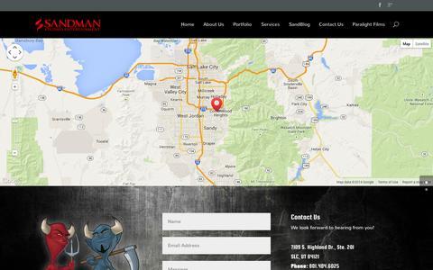 Screenshot of Contact Page sandmanstudios.com - Contact Us | Sandman Studios - captured Oct. 29, 2014