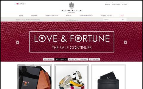 Screenshot of Home Page thomaslyte.com - Bespoke Silverware & Luxury Leather Gifts - Thomas Lyte - captured Feb. 1, 2016