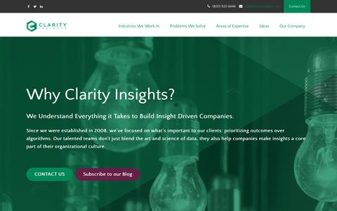Screenshot of About Page clarityinsights.com - Big Data, Data Science and Data Management Consulting - captured Nov. 23, 2017