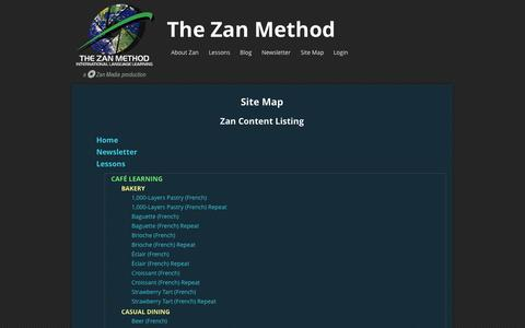 Screenshot of Site Map Page thezanmethod.com - Site Map » The Zan Method -  A new and exciting way to learn a language! - captured Sept. 30, 2014