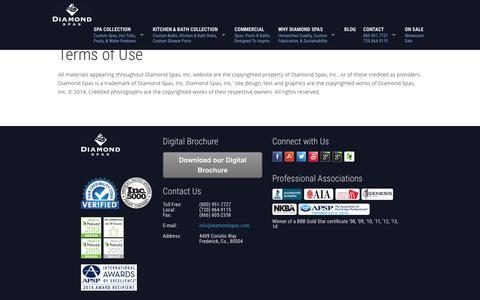 Screenshot of Terms Page diamondspas.com - Terms of Use | Diamond Spas - captured Dec. 5, 2015