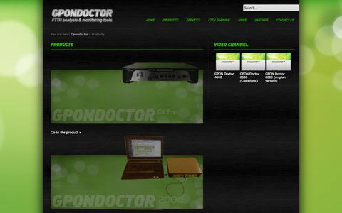 Screenshot of Products Page gpondoctor.com - Products - captured Sept. 27, 2014
