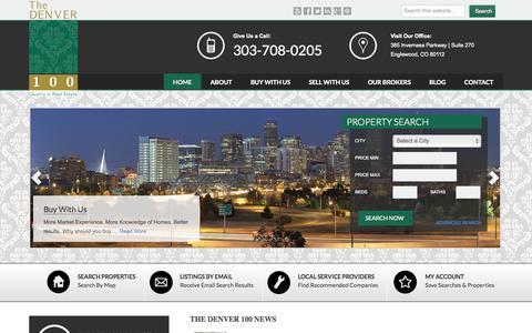 Screenshot of Home Page thedenver-100.com - The Denver 100   Denver, Colorado — Quality in Real Estate - captured Sept. 30, 2014