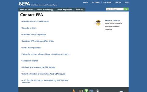 Screenshot of Contact Page epa.gov - Contact EPA   EPA Home   US EPA - captured Oct. 26, 2014