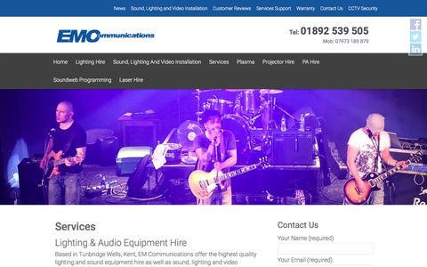 Screenshot of Services Page emcommunications.co.uk - Lighting and Audio Equipment Hire, EM Communications - captured Dec. 6, 2015