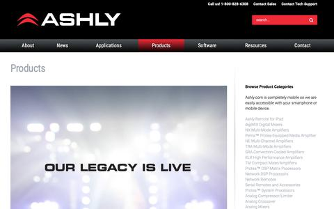 Screenshot of Products Page ashly.com - Products | Ashly Audio - captured Oct. 4, 2018