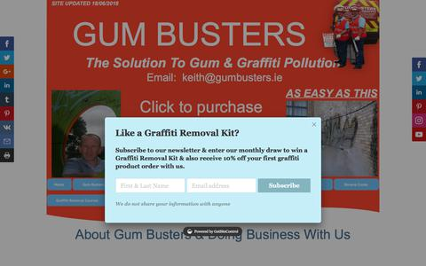 Screenshot of About Page gumbusters.ie - Smart Graffiti - captured July 24, 2018