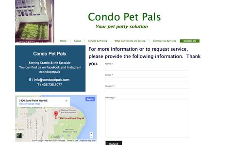 Screenshot of Privacy Page Contact Page condopetpals.com - Contact Us - captured Oct. 22, 2014
