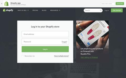 Screenshot of Login Page shopify.com - Login — Shopify - captured Nov. 19, 2016
