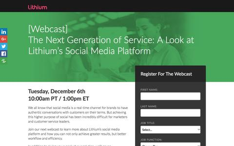 Screenshot of Landing Page lithium.com - [Webcast] The Next Generation of Service: A Look at Lithium's Social Media Platform - captured March 8, 2017