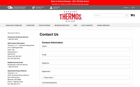 Screenshot of Support Page thermos.com - Contact Us - captured July 31, 2018