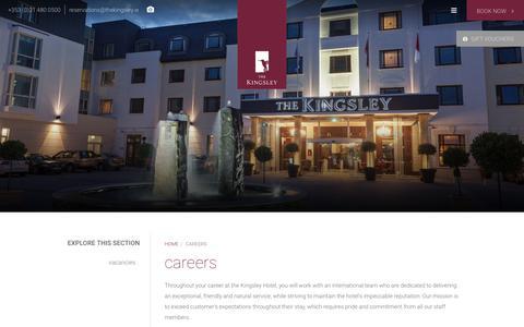 Screenshot of Jobs Page thekingsley.ie - Current Vacancies - Careers | The Kingsley Hotel Cork - captured Sept. 20, 2018