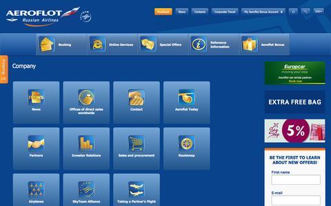 Screenshot of About Page aeroflot.ru - Company | Aeroflot - captured Aug. 19, 2016